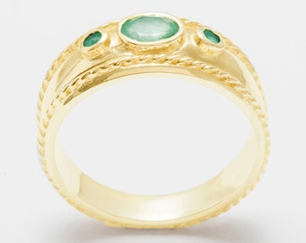 9k Yellow Gold Natural Emerald womens Trilogy Band Ring - Customizable 9K,10K,14K,18K, Yellow, Rose or White Gold or Platinum