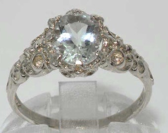 English Natural 1ct Aquamarine Engagement Ring, 9K White Gold Solitaire Victorian Style Ring, March Birthstone - Customize:9K,14K,18K Gold