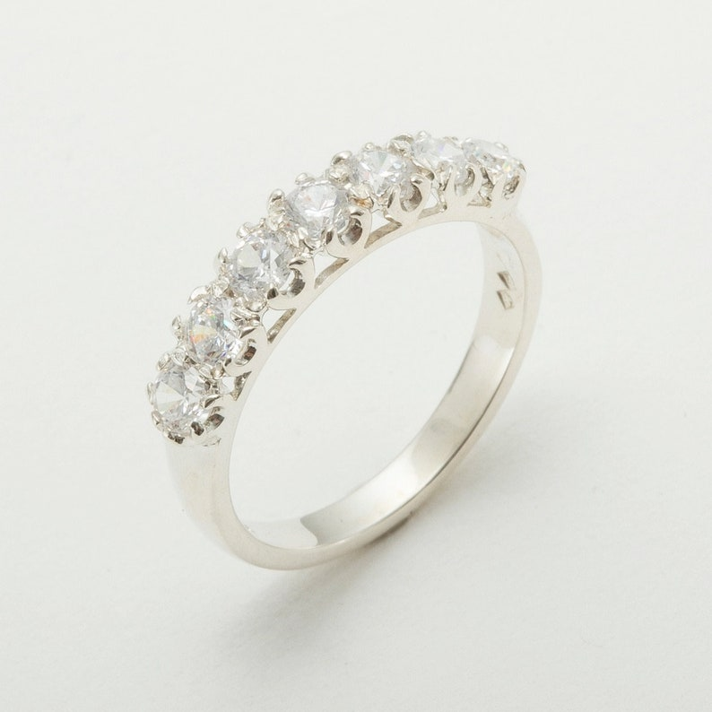 Yellow Rose or White Gold or Platinum 925 Sterling Silver Cubic Zirconia womens Eternity Ring Customizable 9K,10K,14K,18K