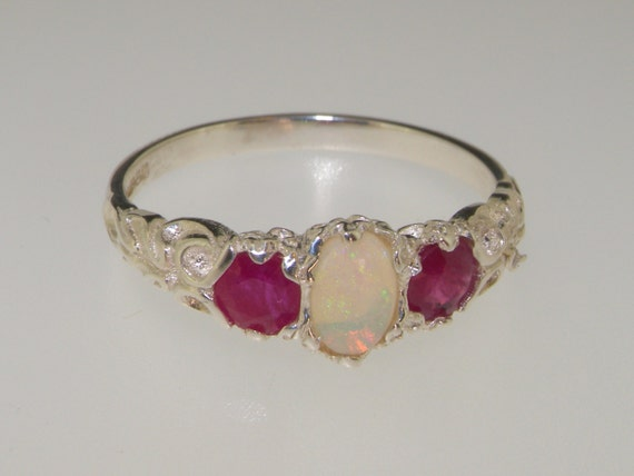 M and T UK I Sterling Silver Natural Opal /& Turquoise Victorian Trilogy Ring Four Available in sizes US 4 6 and 9.5 Sample Sale