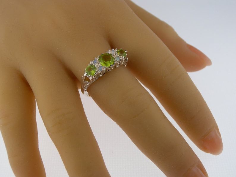 Made in England Customizable 925 Solid Sterling Silver Natural Peridot 3 Stone /& Opal 4 Stone Victorian Trilogy Style Filigree Ring