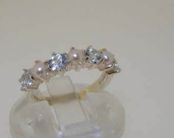 Ready To Ship!  Solid 925 English Sterling Silver Aquamarine Half Eternity Ban Finger Size 4.5