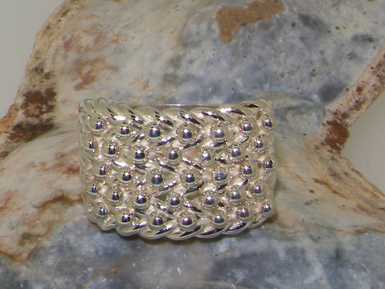 Heavy 925 Solid Silver 5 Row Keeper Ring