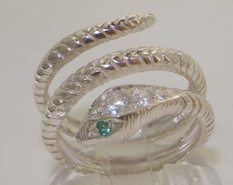 Fabulous Solid 9K White Gold Natural Emerald & Diamond Snake Band Wrap Ring - Choose from Yellow, Rose or White Gold.
