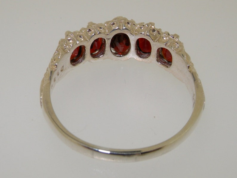 Natural Garnet 925 Sterling Silver Classic 5 Stone Half Eternity Ring Victorian Inspired Design Sample SALE Size 7 UK AU size O