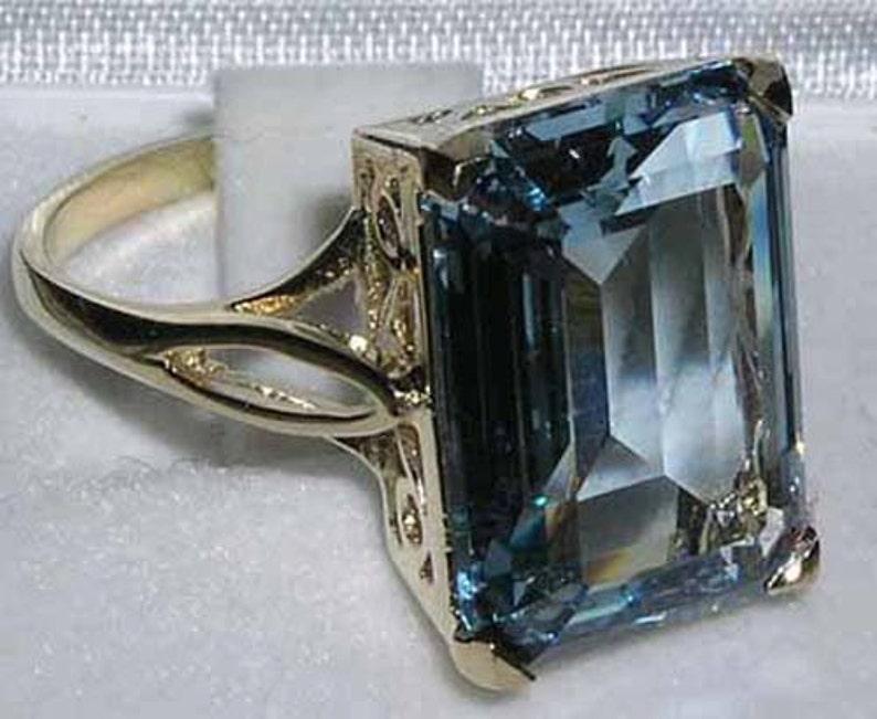 Princess Diana Wedding Ring.Royal Wedding Ring Meghan Markle Princess Diana 16x12mm 9k Yellow Gold Octagon Cut Lab Created Aquamarine Solitaire Ring