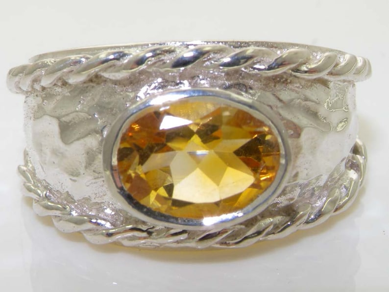 Single Stone Ring Customize:9K,14K,18K Rope Twist Edge  Wide Band Contemporary 925 Sterling Silver Natural Citrine Solitaire Ring