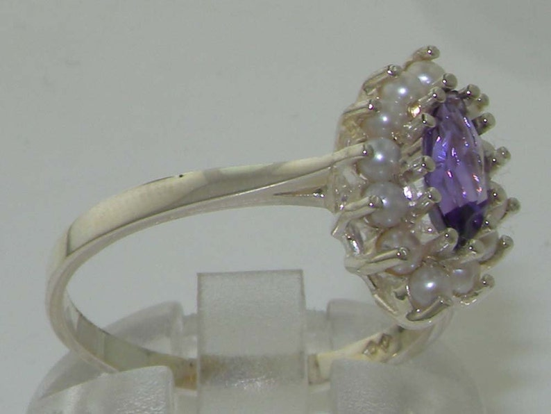 Solid English 925 Sterling Silver Natural Natural Marquise Amethyst /& Freshwater Pearl Cluster Halo Anniversary Ring Customizable