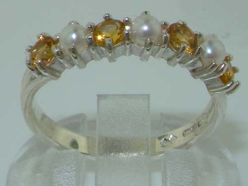 Customize 7 Stone  Ring Half Eternity Band 9K,14K,18K Elegant Solid 925 Sterling Silver Natural Citrine /& Freshwater Pearl Ring