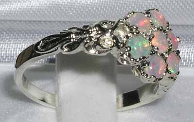 Seven Stone Anniversary Ring 925 Sterling Silver Natural Opal Cluster Flower Daisy Pave Ring Made in England Customizable