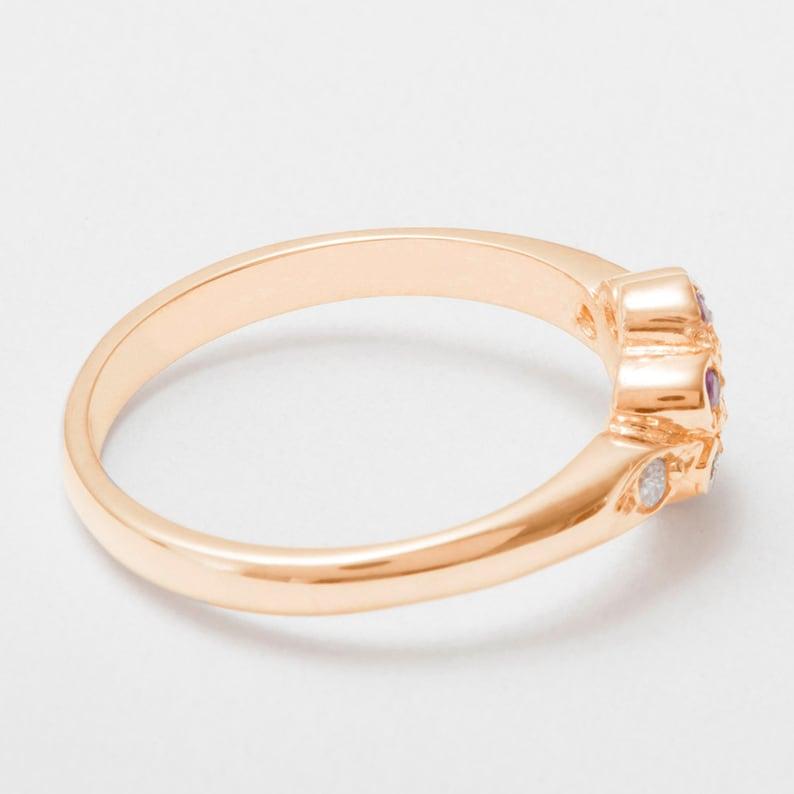 14k,18K Yellow Rose or White Gold or Platinum Customizable  9k 10k 18k Rose Gold Cubic Zirconia /& Ruby womens Daisy Ring