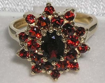 14K Yellow Gold Natural Garnet Cluster Ring, Victorian Inspired, British Made - Customize Platinum, 9K, 10K, 14K, 18K, Yellow, Rose or White