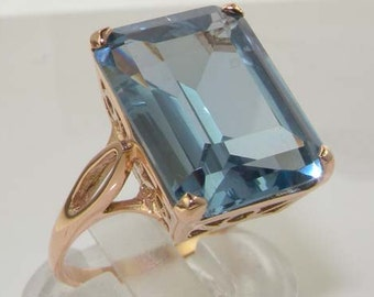 Royal Wedding Ring, Meghan Markle, Princess Diana 16x12mm 18K or 14K Rose Gold Octagon Lab Created Aquamarine Solitaire Ring