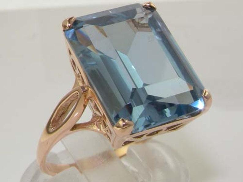 Princess Diana Wedding Ring.Royal Wedding Ring Meghan Markle Princess Diana 16x12mm 9k Rose Gold Octagon Cut Lab Created Aquamarine Solitaire Ring