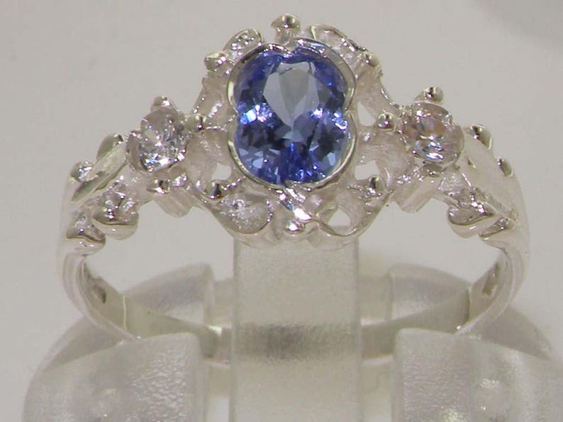 Made in England Victorian Inspired 18K or 14K White Gold Tanzanite and Diamond Dainty Ornate Trilogy Ring Platinum Customizable