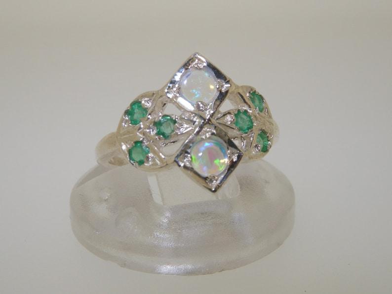 Size 5 925 Sterling Silver Natural Colorful Opal /& Emerald Unique Botanical Design Cluster Ring Sample SALE UK J