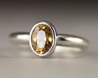 Honey Zircon Ring - Sterling Zircon Ring - Ready to Ship Size 6 - Sample Sale