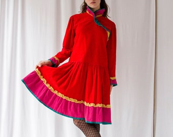 1970s Kenzo red velvet corduroy colorblock ruffled dress Russian style // 70s drop waist and full skirt bright red babydoll dress
