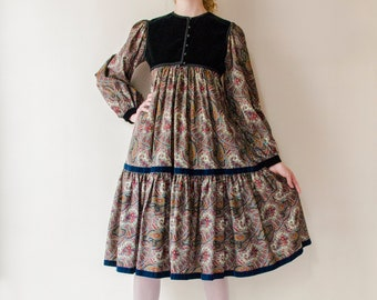 VICTOR COSTA PEASANT Blouse and Skirt Boho  Set With  Corset Matching Belt Maxi Skirt Ysl Inspired Hippie Chic Med