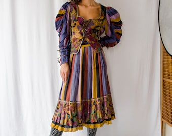 Rare! 1970s Dora Herbst Ibiza floral striped set wrap skirt blouse / 70s printed folk two piece mutton sleeves blouse pleated skirt