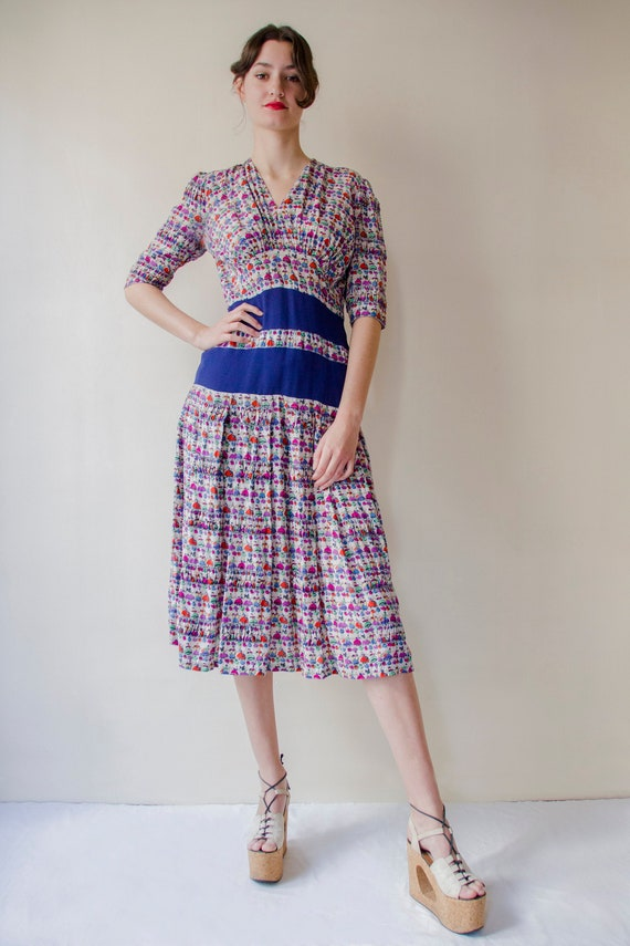 Vintage 1930 French pleated silk dress novelty pri