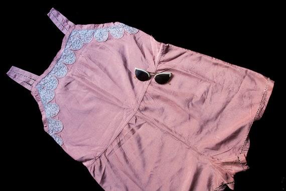 Vintage 1930s silk teddy 30s romper lingerie lace