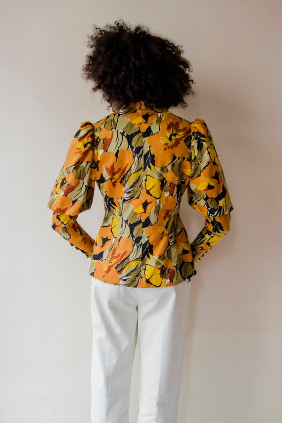 Vintage 1970s Leg of Mutton sleeves orange & gree… - image 3