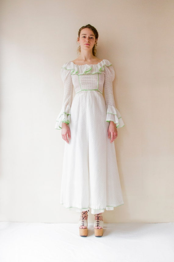 Vintage 1970s white prairie dress with leg of mut… - image 4