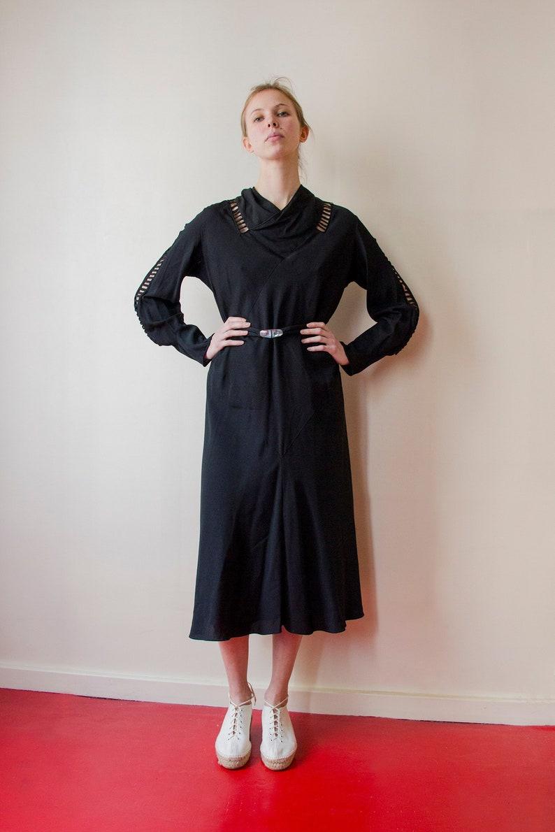 4a2420cdd16 Vintage 1930 robe en soie verre boucle de ceinture découpée