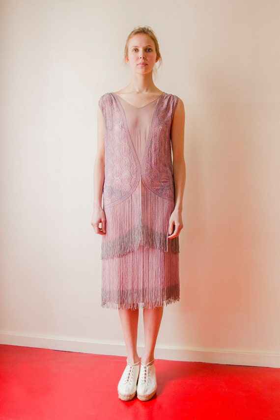 Rare! Vintage 1920s French flapper beaded dress l… - image 1