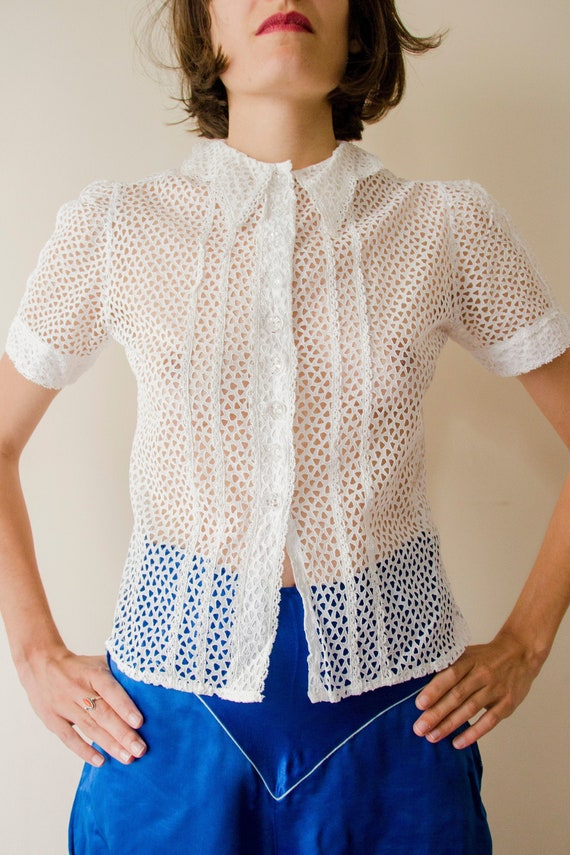 Rare 1930s eyelet embroidered blouse with glass bu