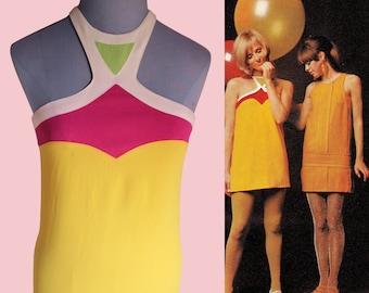 Jean Varon iconic mini dress colorblock 1960 60's yellow pink mod swinging sixties designer halter neck tunic neon crepe wool