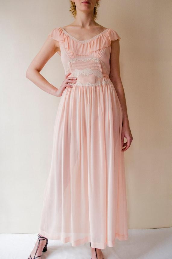 vintage 1930s pink chiffon silk slip dress with fl