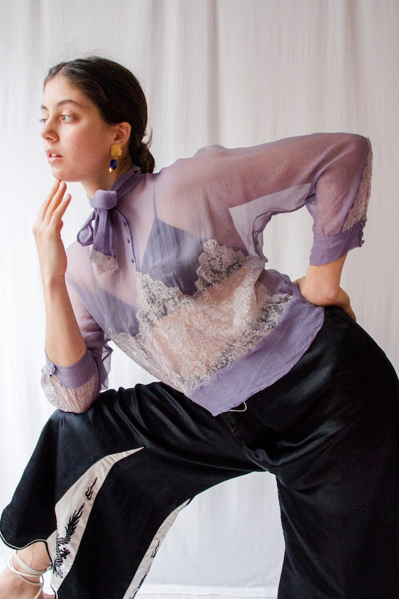 1930s periwinkle silk chiffon & lace long sleeves