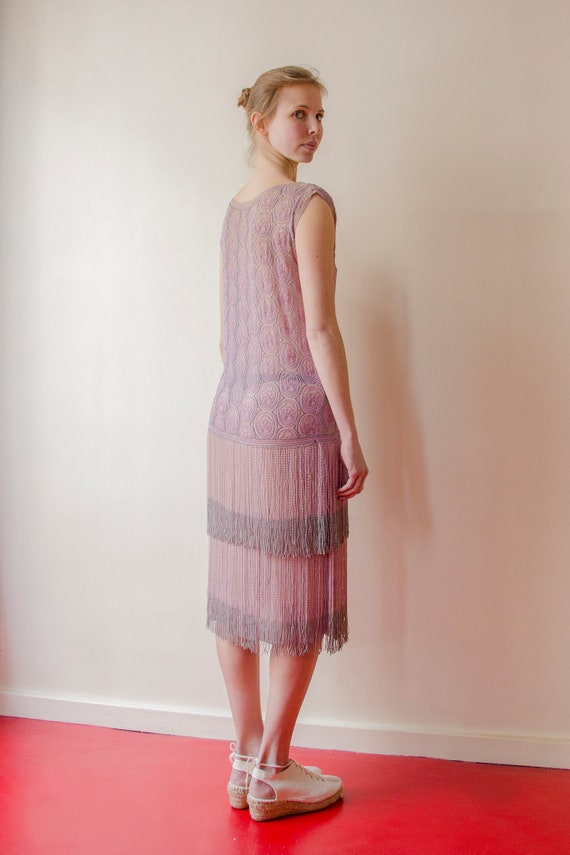 Rare! Vintage 1920s French flapper beaded dress l… - image 6