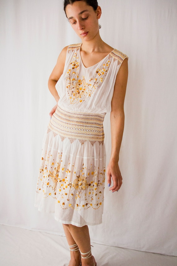 1920s sheer cotton Hungarian embroidered dress //