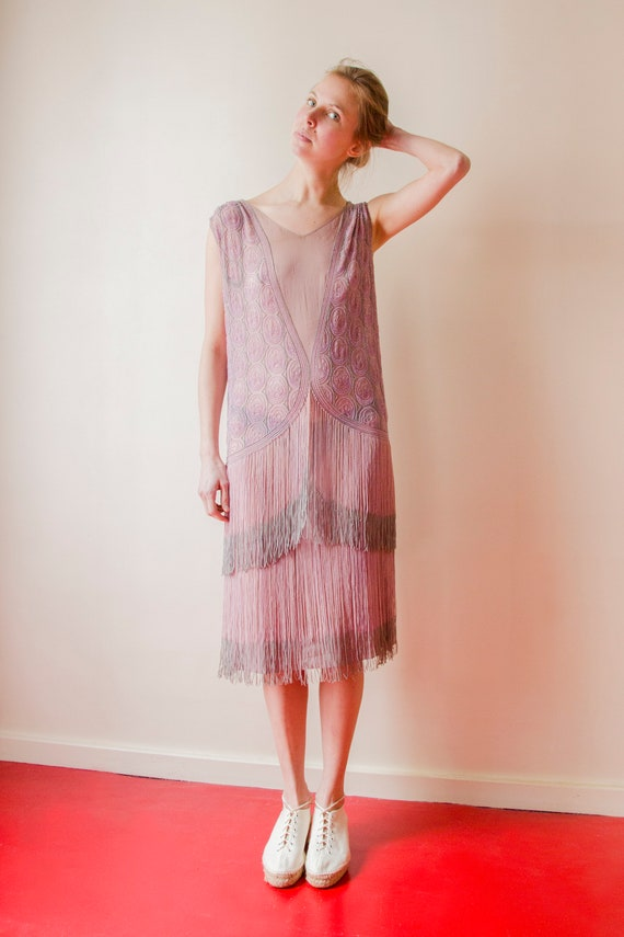 Rare! Vintage 1920s French flapper beaded dress l… - image 3