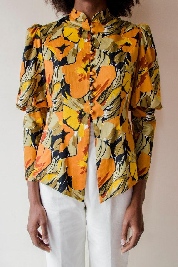 Vintage 1970s Leg of Mutton sleeves orange & gree… - image 4