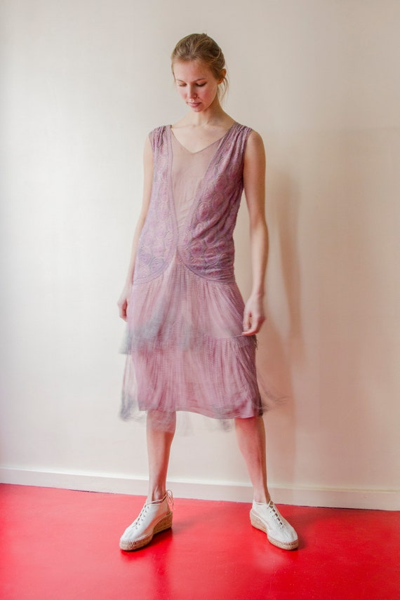 Rare! Vintage 1920s French flapper beaded dress l… - image 5