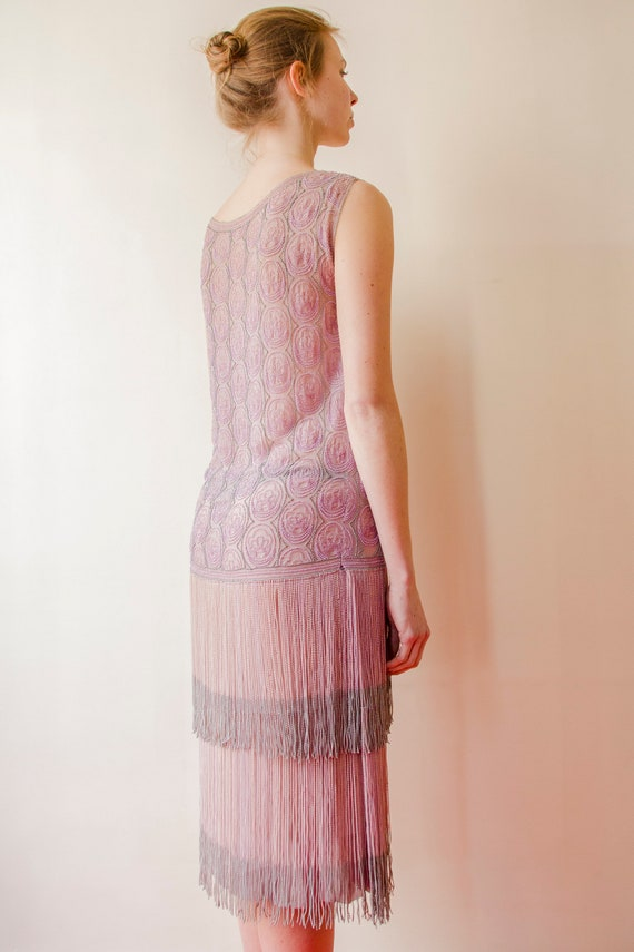 Rare! Vintage 1920s French flapper beaded dress l… - image 8