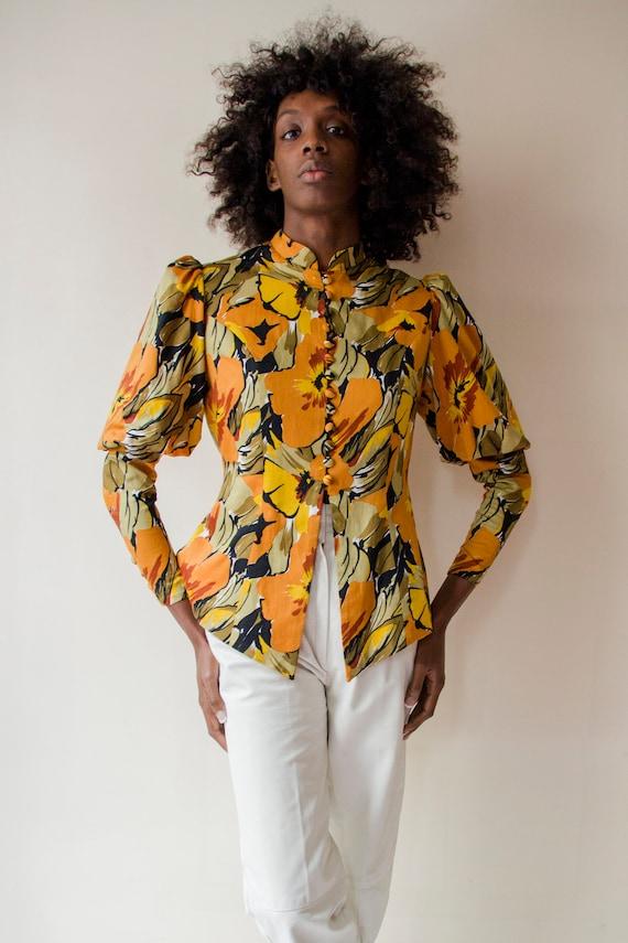 Vintage 1970s Leg of Mutton sleeves orange & gree… - image 1
