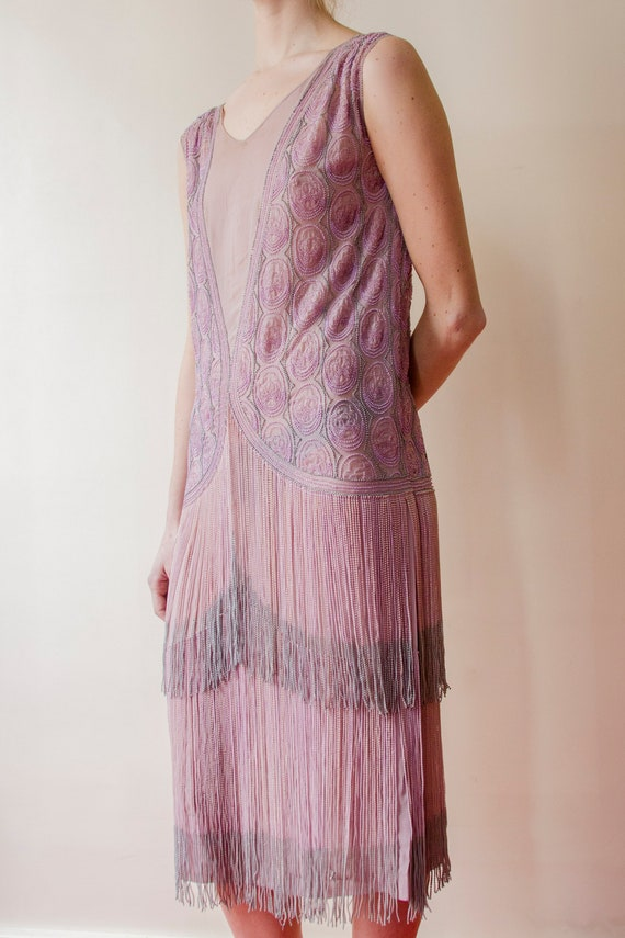 Rare! Vintage 1920s French flapper beaded dress l… - image 4
