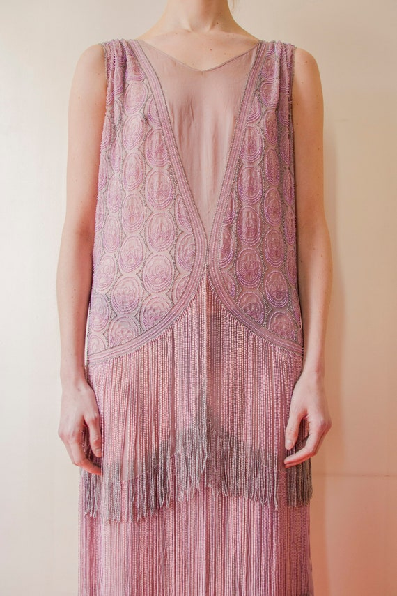 Rare! Vintage 1920s French flapper beaded dress l… - image 2