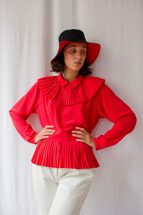 1980s Cacharel red pleated blouse with big Pierrot