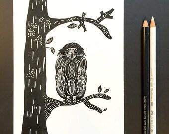 Life is a Journey... Art Print Owl in Oak - Art Deco - Owl Poster - Riso Print - Owl Wall Art - Home Decor - Owl illustration - Owl Decor