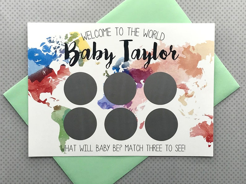 World Gender Reveal Scratch-Off Game Cards- welcome to the world, travel