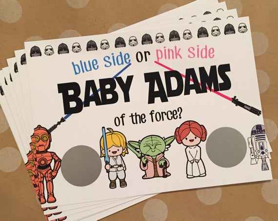 star wars gender reveal scratch off cards star wars gender etsy