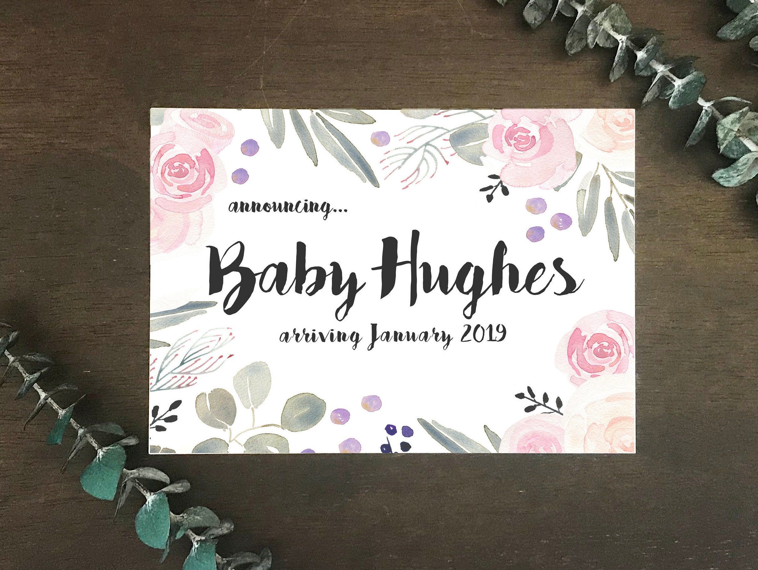 Pregnancy Announcement Cards Floral Baby Announcement Cards Etsy