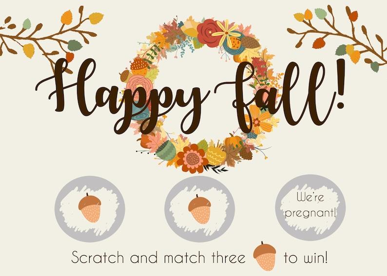 Fall Pregnancy Announcement Scratch Off Cards Autumn Pregnancy Announcement Cards