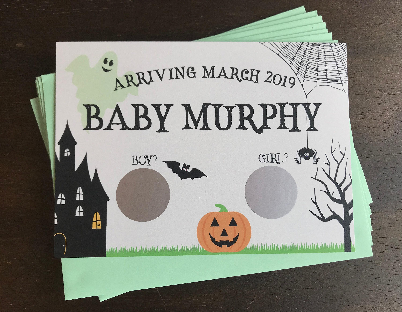 Halloween Gender Reveal Scratch f Cards Fall Gender Reveal